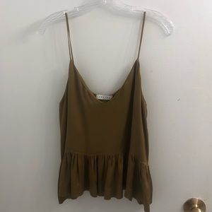 Sandro Pea Green Cami with Peplum Hem